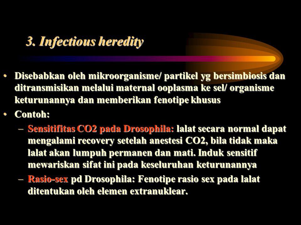 3. Infectious heredity Disebabkan oleh mikroorganisme/ partikel yg bersimbiosis dan ditransmisikan melalui maternal ooplasma ke sel/ organisme keturun