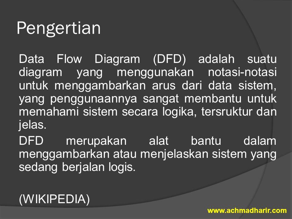 Pengertian Data Flow Diagram (DFD) adalah suatu diagram yang menggunakan notasi-notasi untuk menggambarkan arus dari data sistem, yang penggunaannya s
