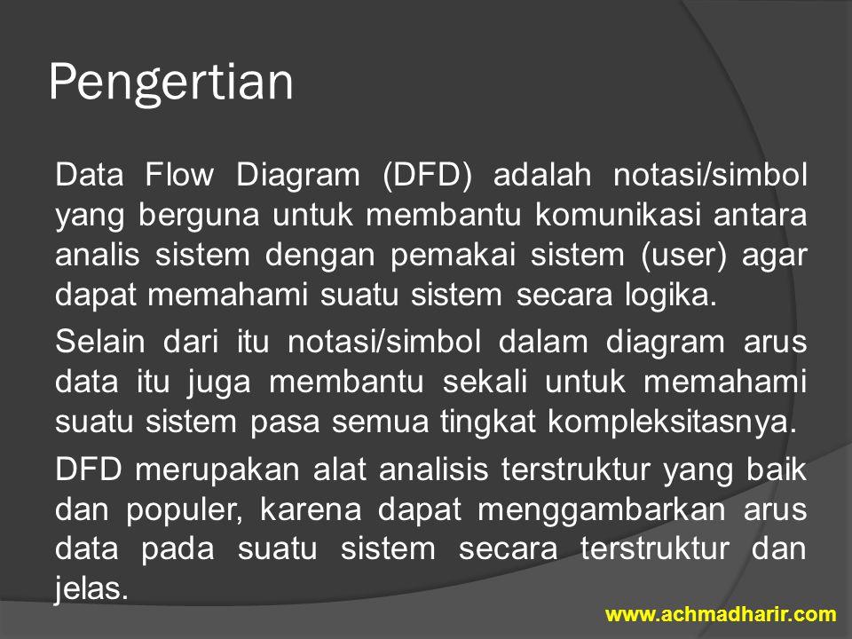 Pengertian Data Flow Diagram (DFD) adalah notasi/simbol yang berguna untuk membantu komunikasi antara analis sistem dengan pemakai sistem (user) agar