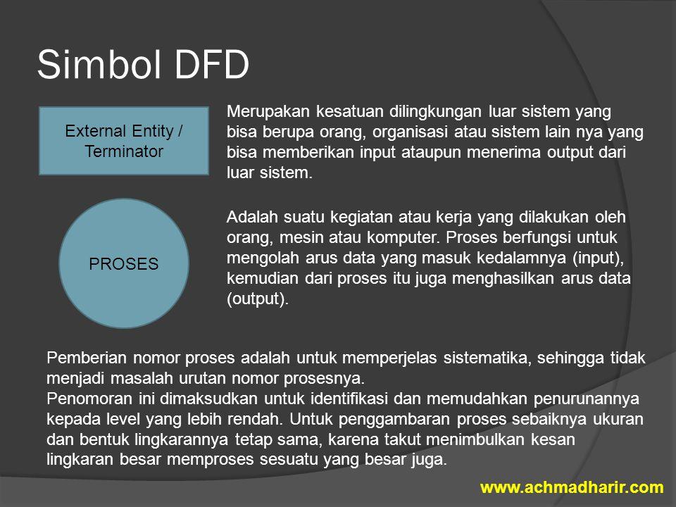 Simbol DFD External Entity / Terminator Merupakan kesatuan dilingkungan luar sistem yang bisa berupa orang, organisasi atau sistem lain nya yang bisa