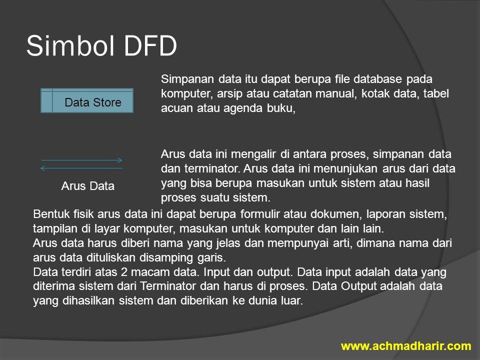 Simbol DFD Simpanan data itu dapat berupa file database pada komputer, arsip atau catatan manual, kotak data, tabel acuan atau agenda buku, Arus data