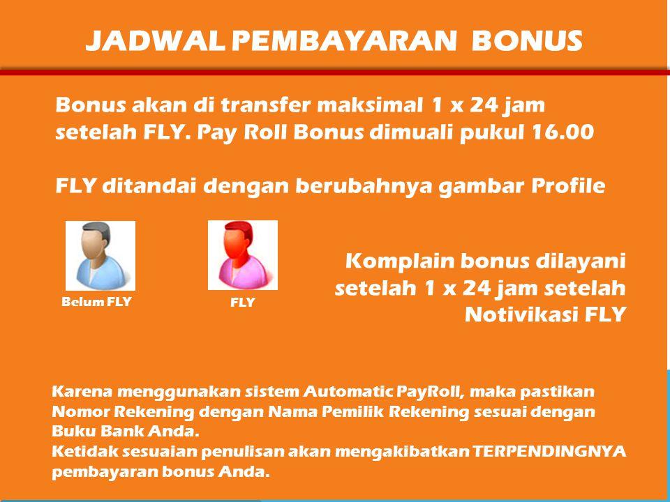 JADWAL PEMBAYARAN BONUS Bonus akan di transfer maksimal 1 x 24 jam setelah FLY.