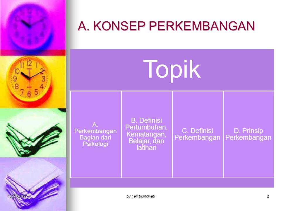 A. KONSEP PERKEMBANGAN Topik A. Perkembangan Bagian dari Psikologi B. Definisi Pertumbuhan, Kematangan, Belajar, dan latihan C. Definisi Perkembangan