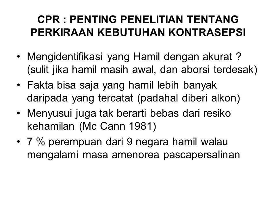 CPR : PENTING PENELITIAN TENTANG PERKIRAAN KEBUTUHAN KONTRASEPSI Mengidentifikasi yang Hamil dengan akurat .