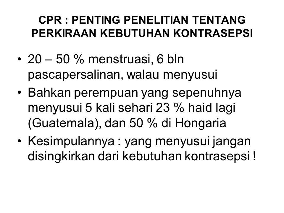 CPR : PENTING PENELITIAN TENTANG PERKIRAAN KEBUTUHAN KONTRASEPSI 20 – 50 % menstruasi, 6 bln pascapersalinan, walau menyusui Bahkan perempuan yang sepenuhnya menyusui 5 kali sehari 23 % haid lagi (Guatemala), dan 50 % di Hongaria Kesimpulannya : yang menyusui jangan disingkirkan dari kebutuhan kontrasepsi !