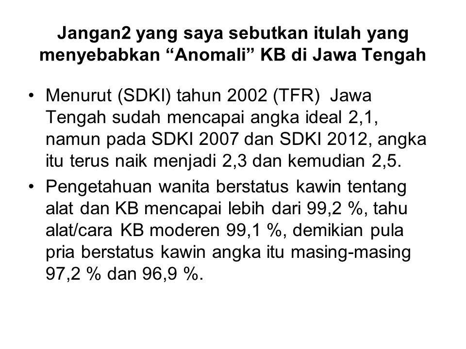 Jangan2 yang saya sebutkan itulah yang menyebabkan Anomali KB di Jawa Tengah Menurut (SDKI) tahun 2002 (TFR) Jawa Tengah sudah mencapai angka ideal 2,1, namun pada SDKI 2007 dan SDKI 2012, angka itu terus naik menjadi 2,3 dan kemudian 2,5.