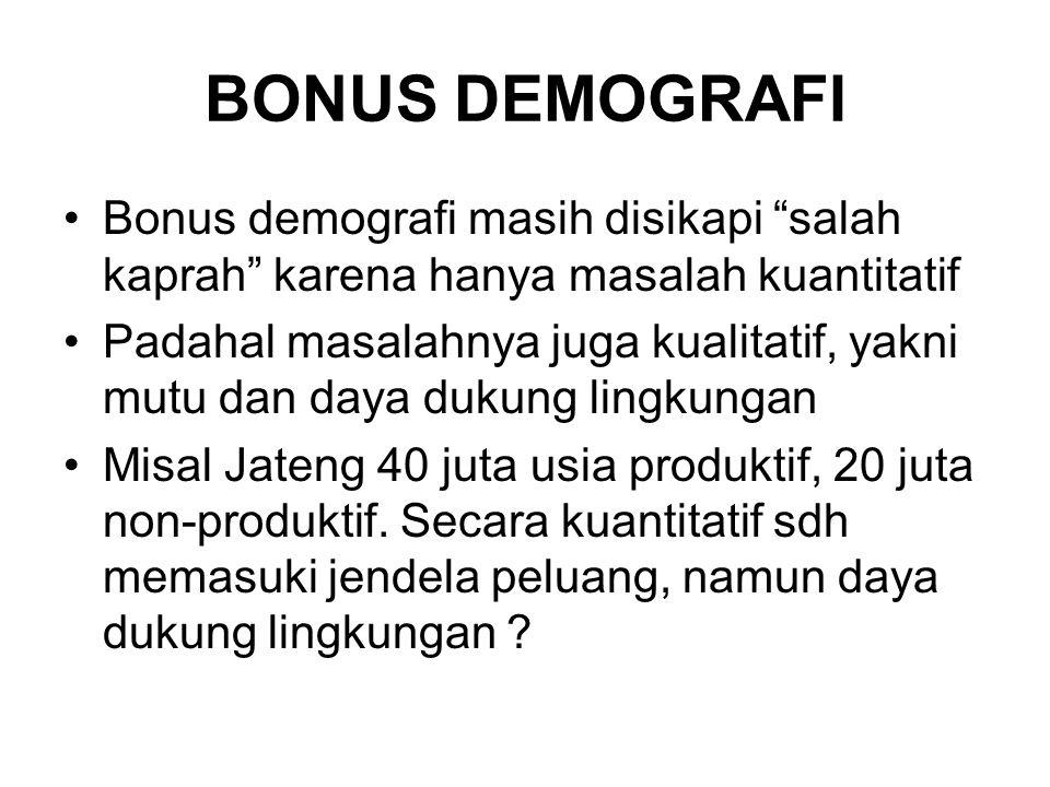 BONUS DEMOGRAFI Bonus demografi masih disikapi salah kaprah karena hanya masalah kuantitatif Padahal masalahnya juga kualitatif, yakni mutu dan daya dukung lingkungan Misal Jateng 40 juta usia produktif, 20 juta non-produktif.