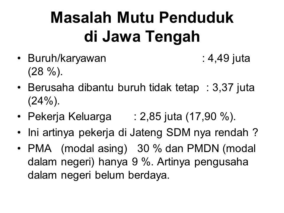 Masalah Mutu Penduduk di Jawa Tengah Buruh/karyawan : 4,49 juta (28 %).