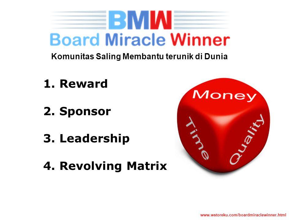 Komunitas Saling Membantu terunik di Dunia 1. Reward 2. Sponsor 3. Leadership 4. Revolving Matrix www.wstoreku.com/boardmiraclewinner.html