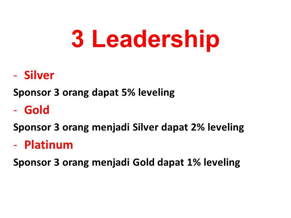 -Silver Sponsor 3 orang dapat 5% leveling -Gold Sponsor 3 orang menjadi Silver dapat 2% leveling -Platinum Sponsor 3 orang menjadi Gold dapat 1% leveling 3 Leadership