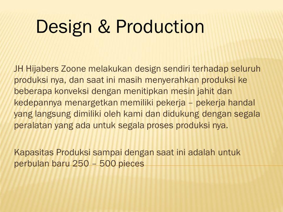 JH Hijabers Zoone melakukan design sendiri terhadap seluruh produksi nya, dan saat ini masih menyerahkan produksi ke beberapa konveksi dengan menitipkan mesin jahit dan kedepannya menargetkan memiliki pekerja – pekerja handal yang langsung dimiliki oleh kami dan didukung dengan segala peralatan yang ada untuk segala proses produksi nya.