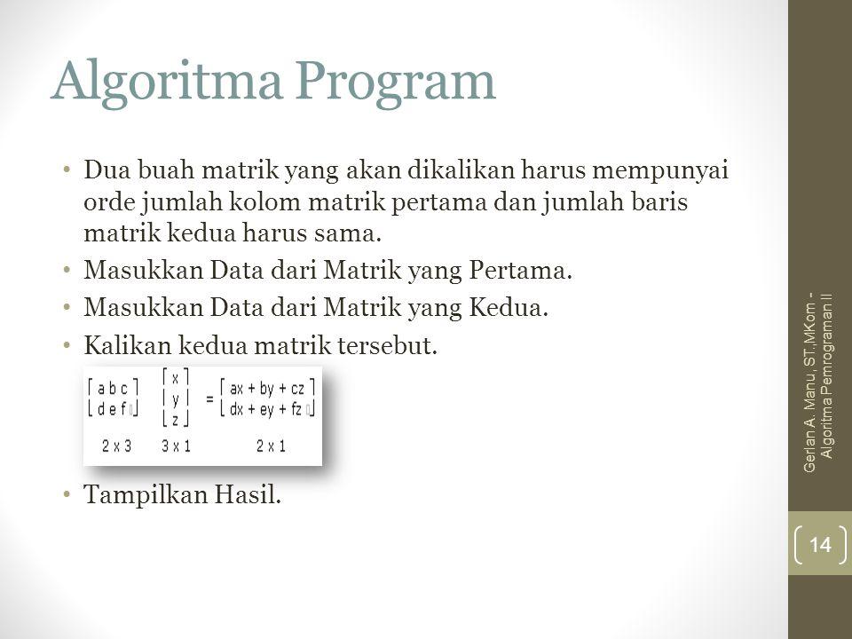 Algoritma Program Dua buah matrik yang akan dikalikan harus mempunyai orde jumlah kolom matrik pertama dan jumlah baris matrik kedua harus sama. Masuk
