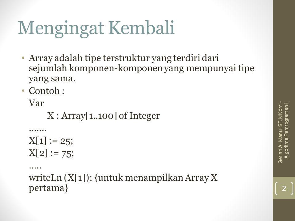 Mengingat Kembali Array adalah tipe terstruktur yang terdiri dari sejumlah komponen-komponen yang mempunyai tipe yang sama. Contoh : Var X : Array[1..