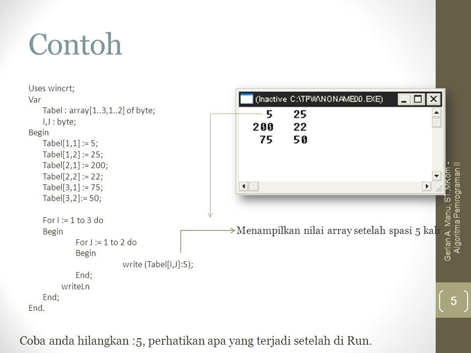 Contoh Uses wincrt; Var Tabel : array[1..3,1..2] of byte; I,J : byte; Begin Tabel[1,1] := 5; Tabel[1,2] := 25; Tabel[2,1] := 200; Tabel[2,2] := 22; Ta