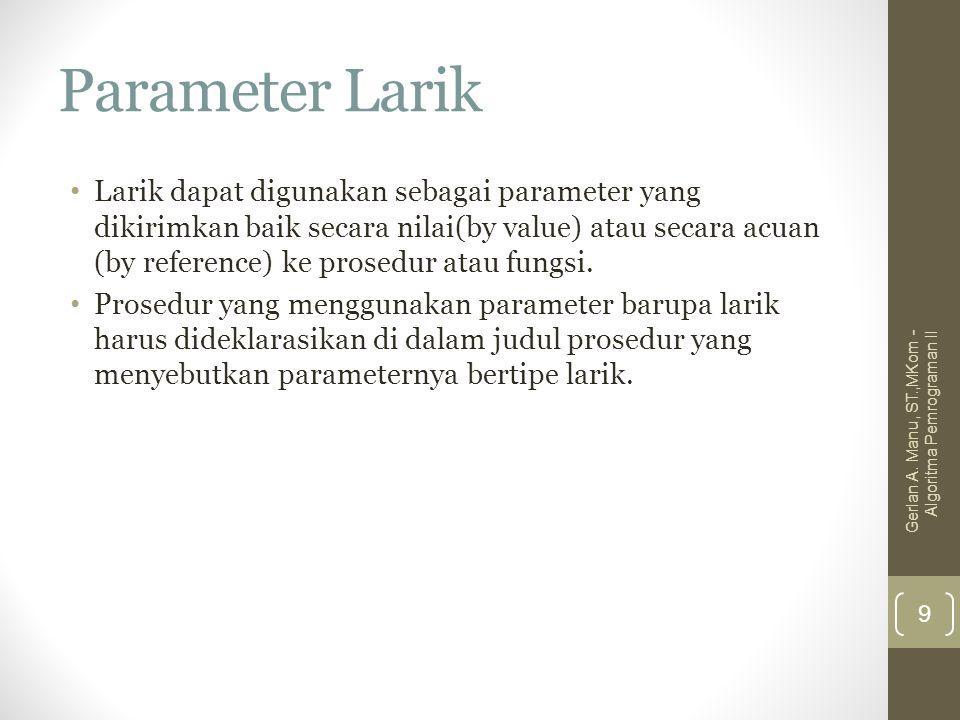 Parameter Larik Larik dapat digunakan sebagai parameter yang dikirimkan baik secara nilai(by value) atau secara acuan (by reference) ke prosedur atau