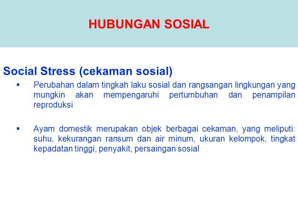 Social Stress (cekaman sosial)  Perubahan dalam tingkah laku sosial dan rangsangan lingkungan yang mungkin akan mempengaruhi pertumbuhan dan penampil