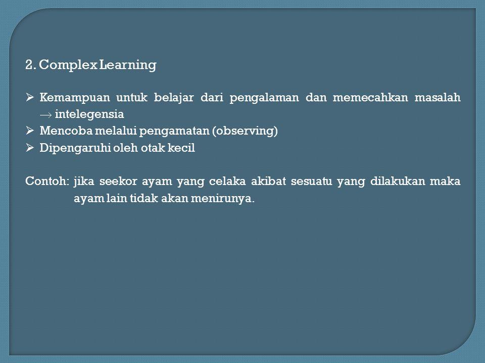 2. Complex Learning  Kemampuan untuk belajar dari pengalaman dan memecahkan masalah  intelegensia  Mencoba melalui pengamatan (observing)  Dipenga