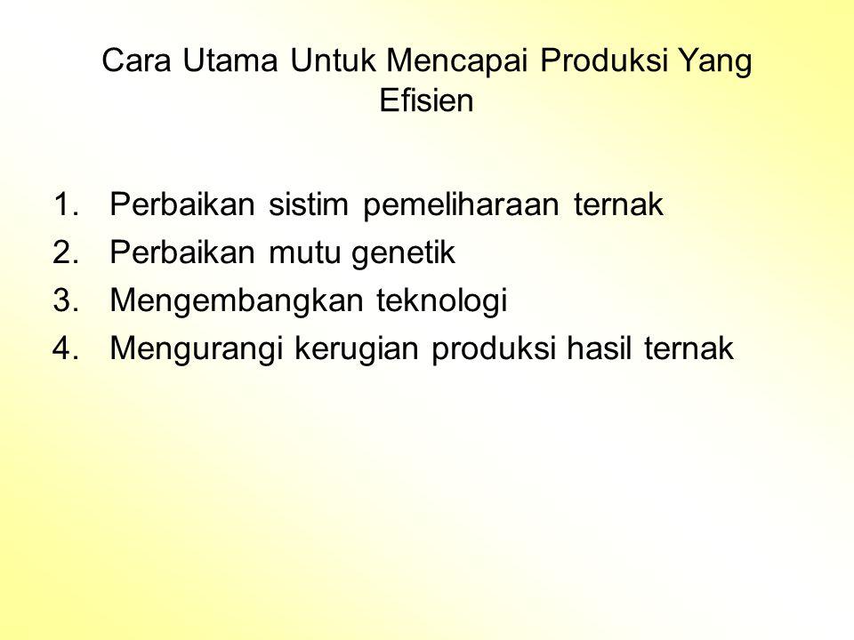 Cara Utama Untuk Mencapai Produksi Yang Efisien 1.Perbaikan sistim pemeliharaan ternak 2.Perbaikan mutu genetik 3.Mengembangkan teknologi 4.Mengurangi kerugian produksi hasil ternak