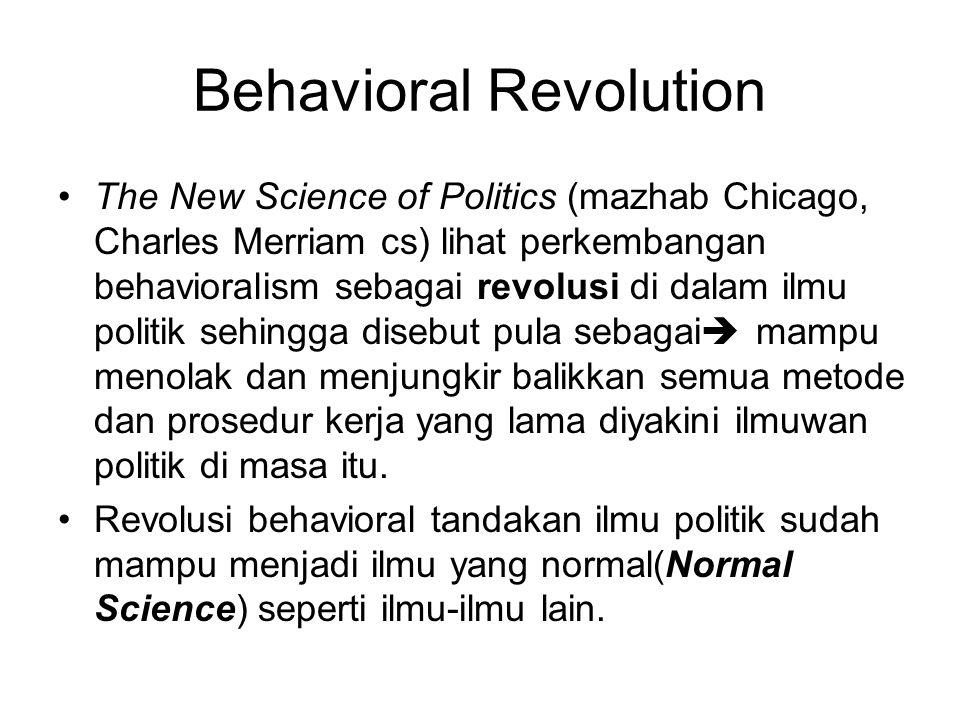 Behavioral Revolution The New Science of Politics (mazhab Chicago, Charles Merriam cs) lihat perkembangan behavioralism sebagai revolusi di dalam ilmu politik sehingga disebut pula sebagai  mampu menolak dan menjungkir balikkan semua metode dan prosedur kerja yang lama diyakini ilmuwan politik di masa itu.