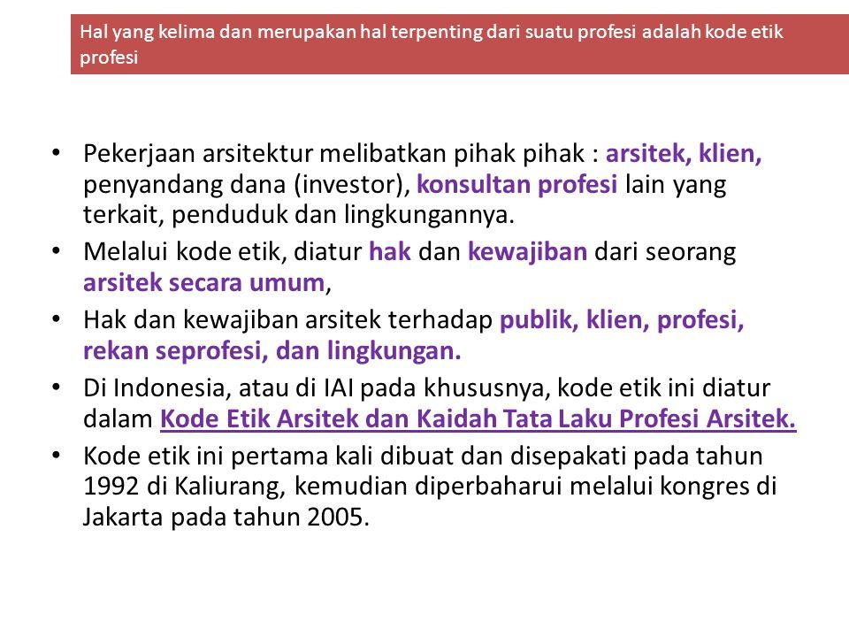 Kode Etik Arsitek dan Kaidah Tata Laku Profesi ArsiteK ini terdiri dari beberapa bagian, yaitu: Mukadimah, 1.5 (lima) Kaidah Dasar, 2.21 (dua puluh satu) Standar Etika dan 3.45 (empat puluh lima) Kaidah Tata Laku.