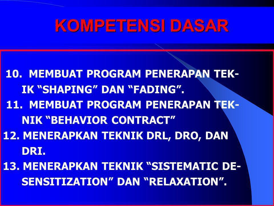 """KOMPETENSI DASAR 10. MEMBUAT PROGRAM PENERAPAN TEK- IK """"SHAPING"""" DAN """"FADING"""". 11. MEMBUAT PROGRAM PENERAPAN TEK- NIK """"BEHAVIOR CONTRACT"""" 12. MENERAPK"""