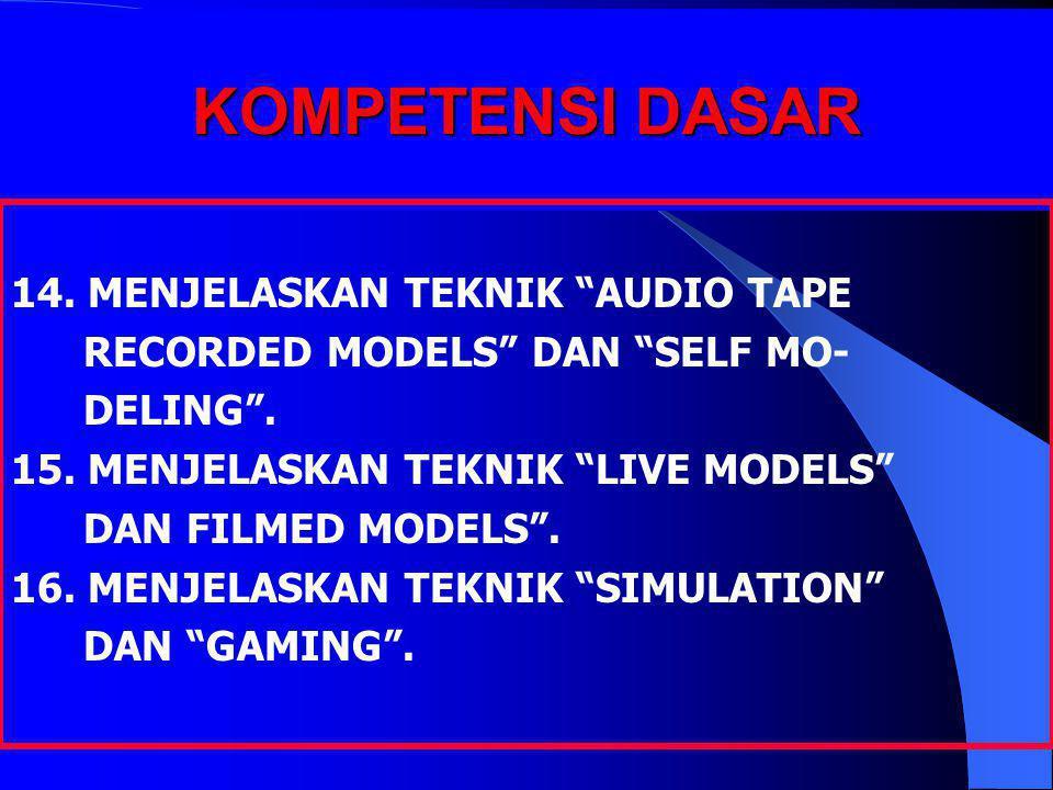 """KOMPETENSI DASAR 14. MENJELASKAN TEKNIK """"AUDIO TAPE RECORDED MODELS"""" DAN """"SELF MO- DELING"""". 15. MENJELASKAN TEKNIK """"LIVE MODELS"""" DAN FILMED MODELS"""". 1"""