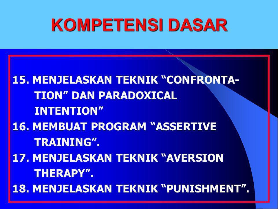 """KOMPETENSI DASAR 15. MENJELASKAN TEKNIK """"CONFRONTA- TION"""" DAN PARADOXICAL INTENTION"""" 16. MEMBUAT PROGRAM """"ASSERTIVE TRAINING"""". 17. MENJELASKAN TEKNIK"""