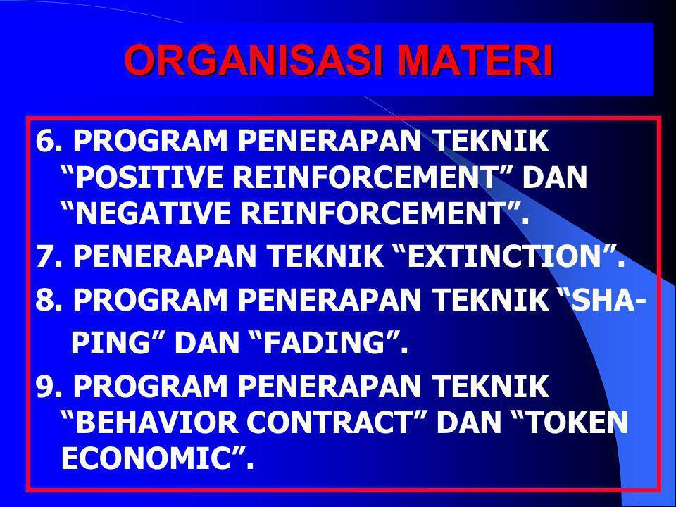 """ORGANISASI MATERI 6. PROGRAM PENERAPAN TEKNIK """"POSITIVE REINFORCEMENT"""" DAN """"NEGATIVE REINFORCEMENT"""". 7. PENERAPAN TEKNIK """"EXTINCTION"""". 8. PROGRAM PENE"""