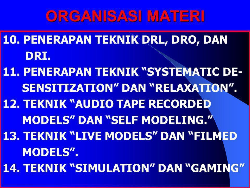 "ORGANISASI MATERI 10. PENERAPAN TEKNIK DRL, DRO, DAN DRI. 11. PENERAPAN TEKNIK ""SYSTEMATIC DE- SENSITIZATION"" DAN ""RELAXATION"". 12. TEKNIK ""AUDIO TAPE"