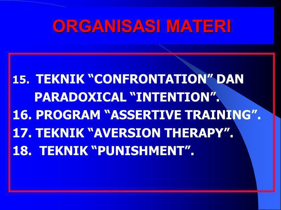 "ORGANISASI MATERI 15. TEKNIK ""CONFRONTATION"" DAN PARADOXICAL ""INTENTION"". 16. PROGRAM ""ASSERTIVE TRAINING"". 17. TEKNIK ""AVERSION THERAPY"". 18. TEKNIK"