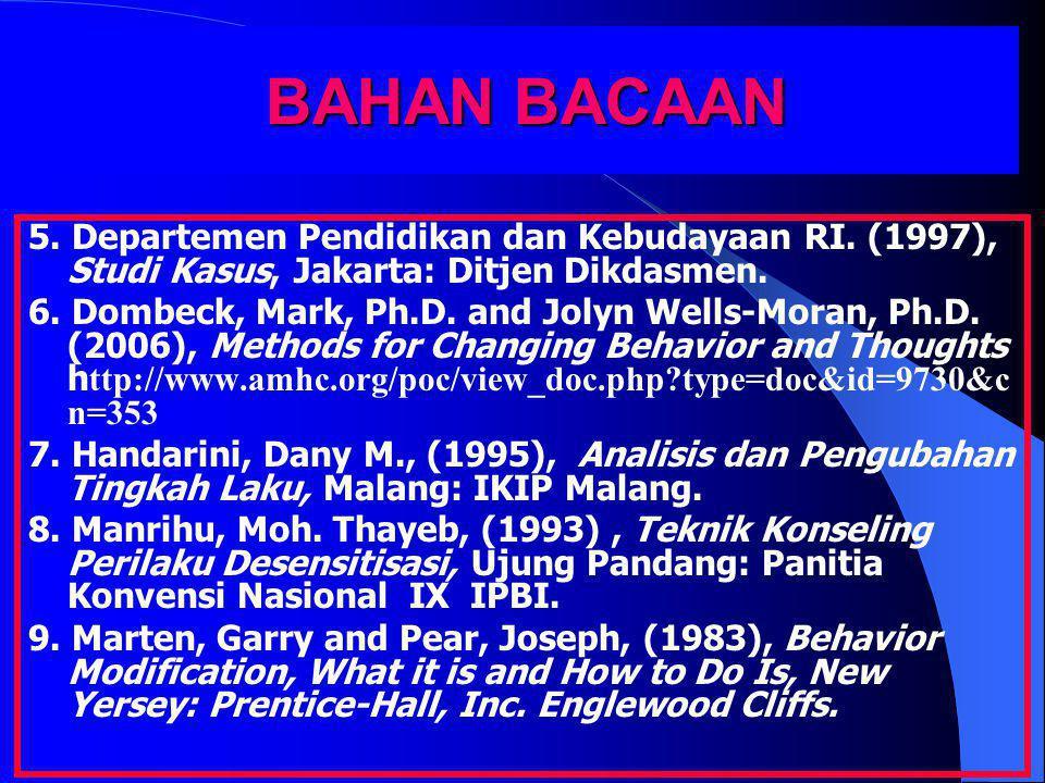 BAHAN BACAAN 5. Departemen Pendidikan dan Kebudayaan RI. (1997), Studi Kasus, Jakarta: Ditjen Dikdasmen. 6. Dombeck, Mark, Ph.D. and Jolyn Wells-Moran