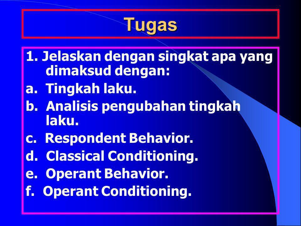 Tugas 1. Jelaskan dengan singkat apa yang dimaksud dengan: a. Tingkah laku. b. Analisis pengubahan tingkah laku. c. Respondent Behavior. d. Classical