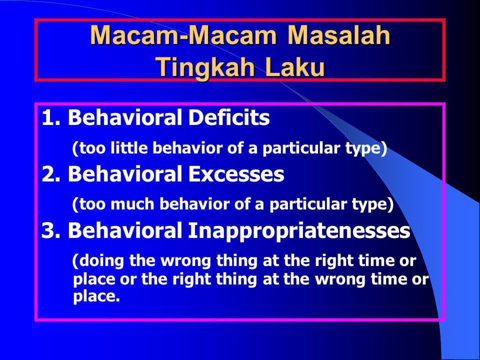 Macam-Macam Masalah Tingkah Laku 1. Behavioral Deficits (too little behavior of a particular type) 2. Behavioral Excesses (too much behavior of a part
