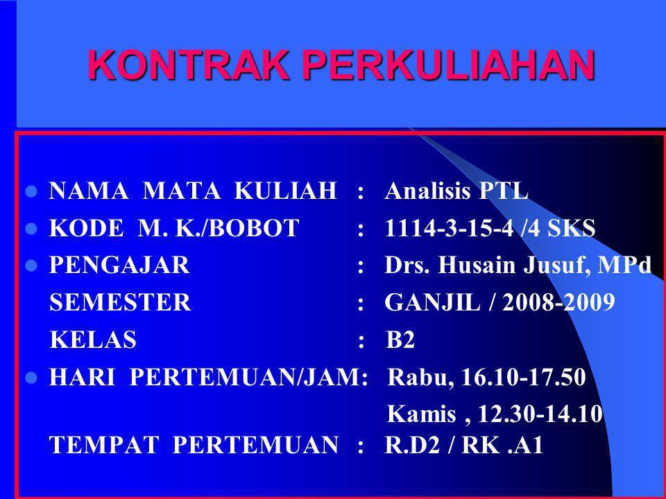 KONTRAK PERKULIAHAN NAMA MATA KULIAH: Analisis PTL KODE M. K./BOBOT: 1114-3-15-4 /4 SKS PENGAJAR: Drs. Husain Jusuf, MPd SEMESTER: GANJIL / 2008-2009