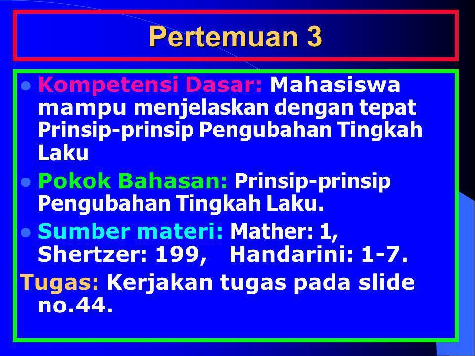 Pertemuan 3 Kompetensi Dasar: Mahasiswa mampu menjelaskan dengan tepat Prinsip-prinsip Pengubahan Tingkah Laku Pokok Bahasan: Prinsip-prinsip Pengubah