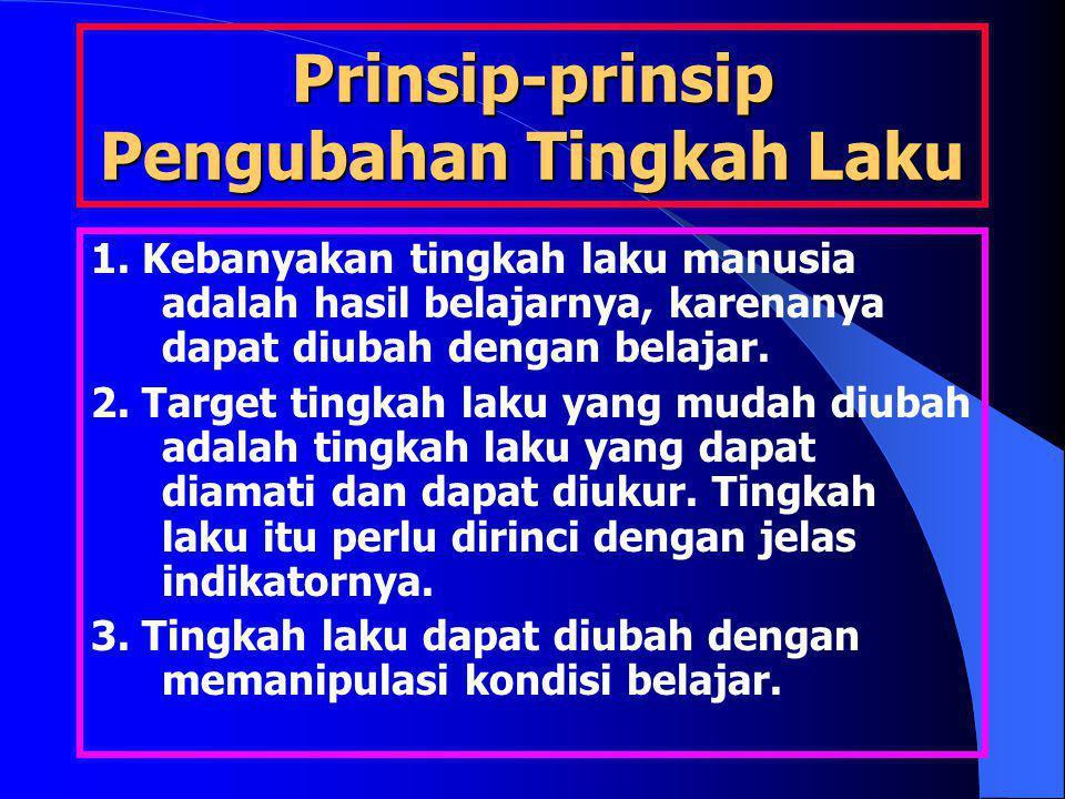 Prinsip-prinsip Pengubahan Tingkah Laku 1. Kebanyakan tingkah laku manusia adalah hasil belajarnya, karenanya dapat diubah dengan belajar. 2. Target t