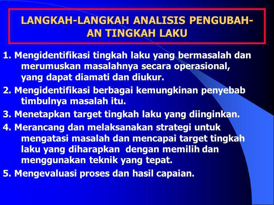 LANGKAH-LANGKAH ANALISIS PENGUBAH- AN TINGKAH LAKU 1. Mengidentifikasi tingkah laku yang bermasalah dan merumuskan masalahnya secara operasional, yang