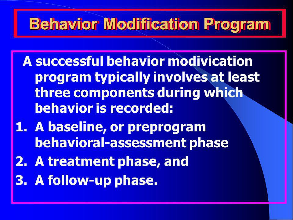 Behavior Modification Program A successful behavior modivication program typically involves at least three components during which behavior is recorded: 1.