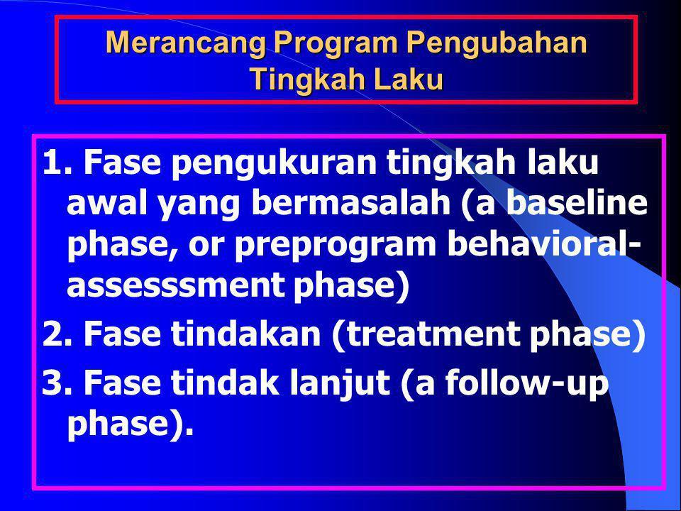 Merancang Program Pengubahan Tingkah Laku 1. Fase pengukuran tingkah laku awal yang bermasalah (a baseline phase, or preprogram behavioral- assesssmen