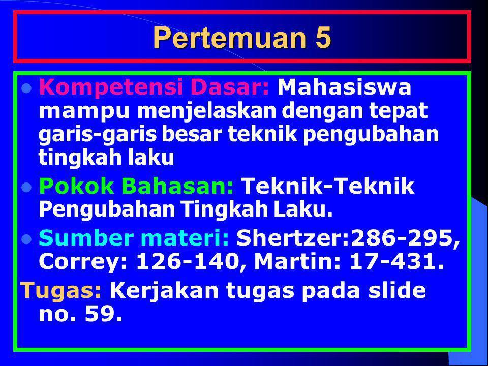 Pertemuan 5 Kompetensi Dasar: Mahasiswa mampu menjelaskan dengan tepat garis-garis besar teknik pengubahan tingkah laku Pokok Bahasan: Teknik-Teknik P
