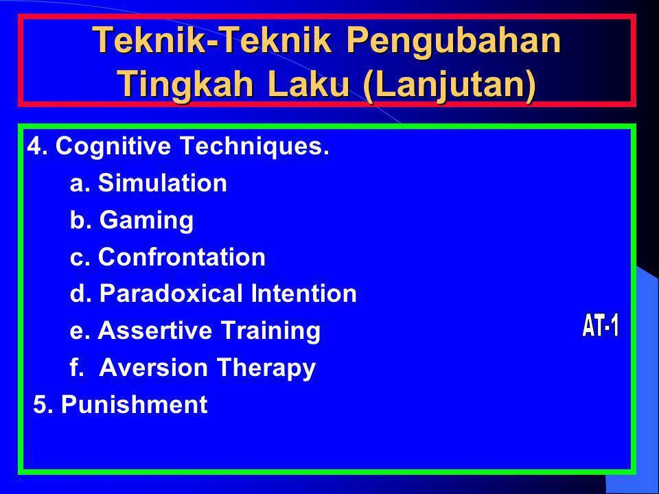 Teknik-Teknik Pengubahan Tingkah Laku (Lanjutan) 4. Cognitive Techniques. a. Simulation b. Gaming c. Confrontation d. Paradoxical Intention e. Asserti