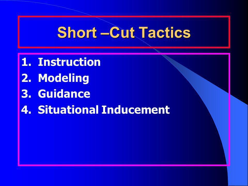 Short –Cut Tactics 1. Instruction 2. Modeling 3. Guidance 4. Situational Inducement