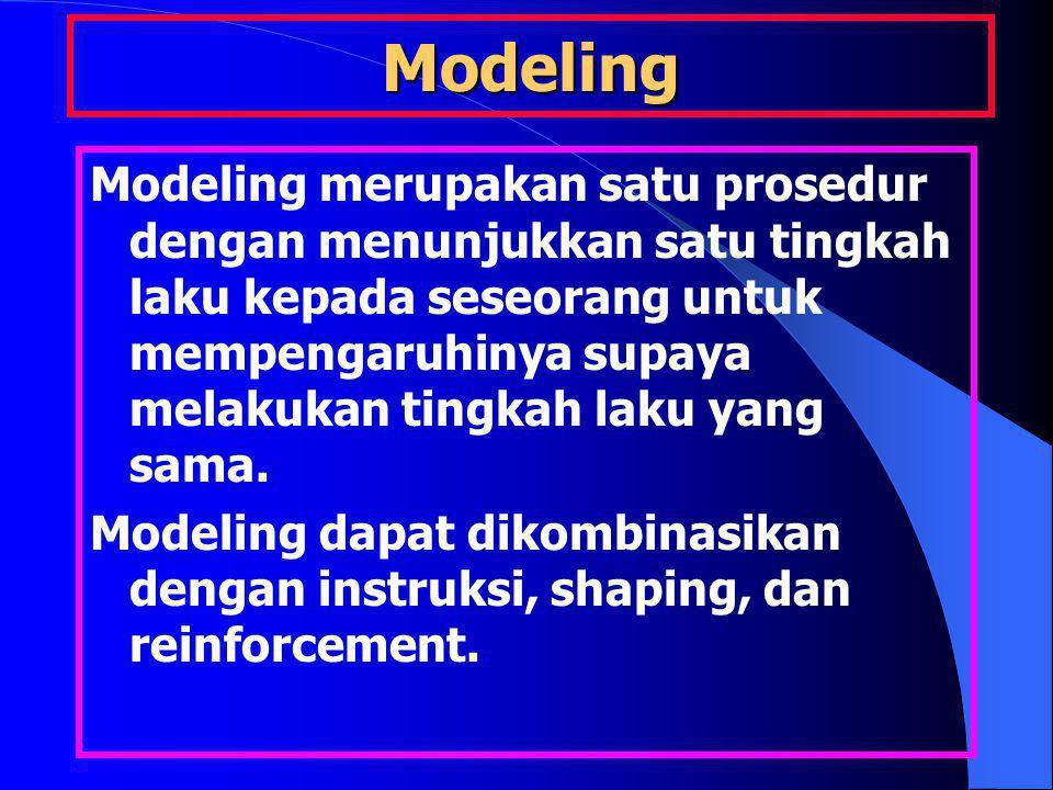 Modeling Modeling merupakan satu prosedur dengan menunjukkan satu tingkah laku kepada seseorang untuk mempengaruhinya supaya melakukan tingkah laku yang sama.