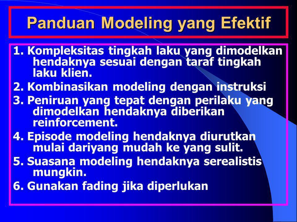 Panduan Modeling yang Efektif 1. Kompleksitas tingkah laku yang dimodelkan hendaknya sesuai dengan taraf tingkah laku klien. 2. Kombinasikan modeling