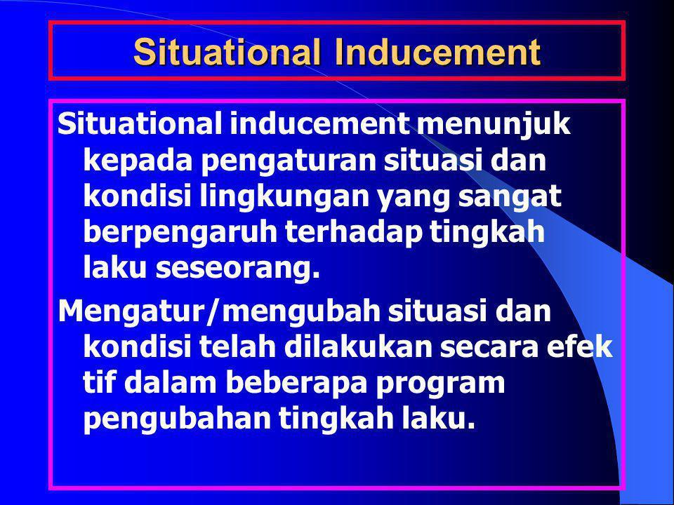 Situational Inducement Situational inducement menunjuk kepada pengaturan situasi dan kondisi lingkungan yang sangat berpengaruh terhadap tingkah laku