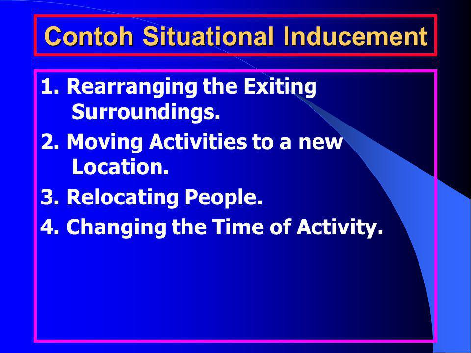 Contoh Situational Inducement 1.Rearranging the Exiting Surroundings.