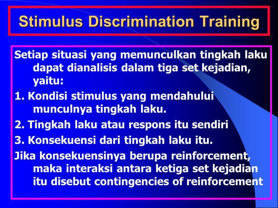 Stimulus Discrimination Training Setiap situasi yang memunculkan tingkah laku dapat dianalisis dalam tiga set kejadian, yaitu: 1. Kondisi stimulus yan