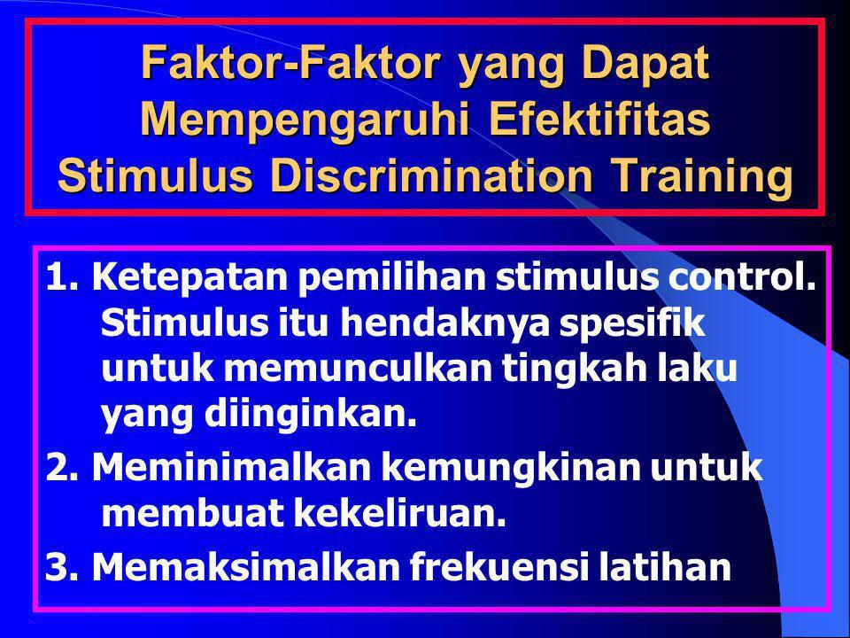 Faktor-Faktor yang Dapat Mempengaruhi Efektifitas Stimulus Discrimination Training 1. Ketepatan pemilihan stimulus control. Stimulus itu hendaknya spe