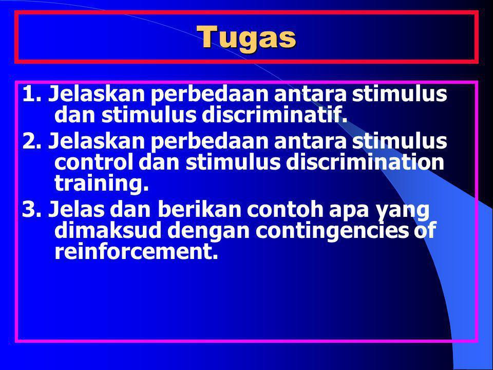 Tugas 1. Jelaskan perbedaan antara stimulus dan stimulus discriminatif. 2. Jelaskan perbedaan antara stimulus control dan stimulus discrimination trai