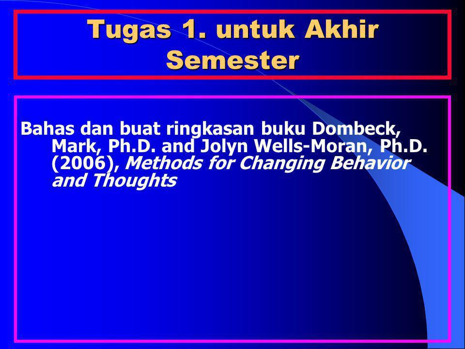 Tugas 1. untuk Akhir Semester Bahas dan buat ringkasan buku Dombeck, Mark, Ph.D. and Jolyn Wells-Moran, Ph.D. (2006), Methods for Changing Behavior an